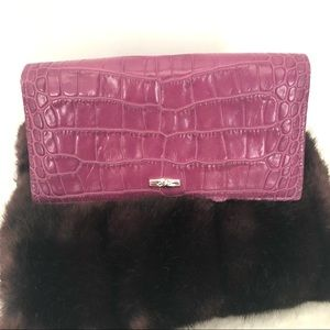 LONGCHAMP Croc Embossed Leather Continental Wallet